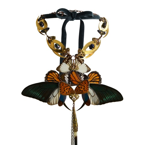 Large Gold Butterfly and Blue Pearls Necklace