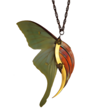 Luna Moth Large Gold and Copper Blade Wing Pendant