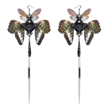 Black Porcupine Quills and Green Butterfly Kanzashi Long Dangle Earrings