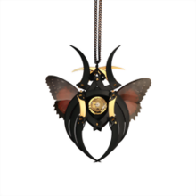 Black Crocodile and Butterfly Kabuto Necklace