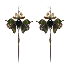 Dark Emerald Snakeskin and Real Butterfly with Pearl Black Kanzashi Long Dangle Earrings