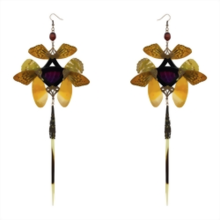 Dark Ruby Snakeskin and Real Butterfly with Pearl Black Kanzashi Long Dangle Earrings