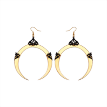 Full Moon Large Gold Dangle Earrings