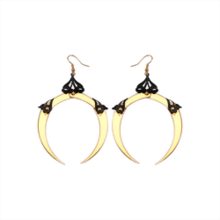 Full Moon Medium Gold Dangle Earrings