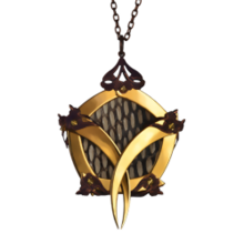Gold Pentagon Cage Cobra Skin Medallion